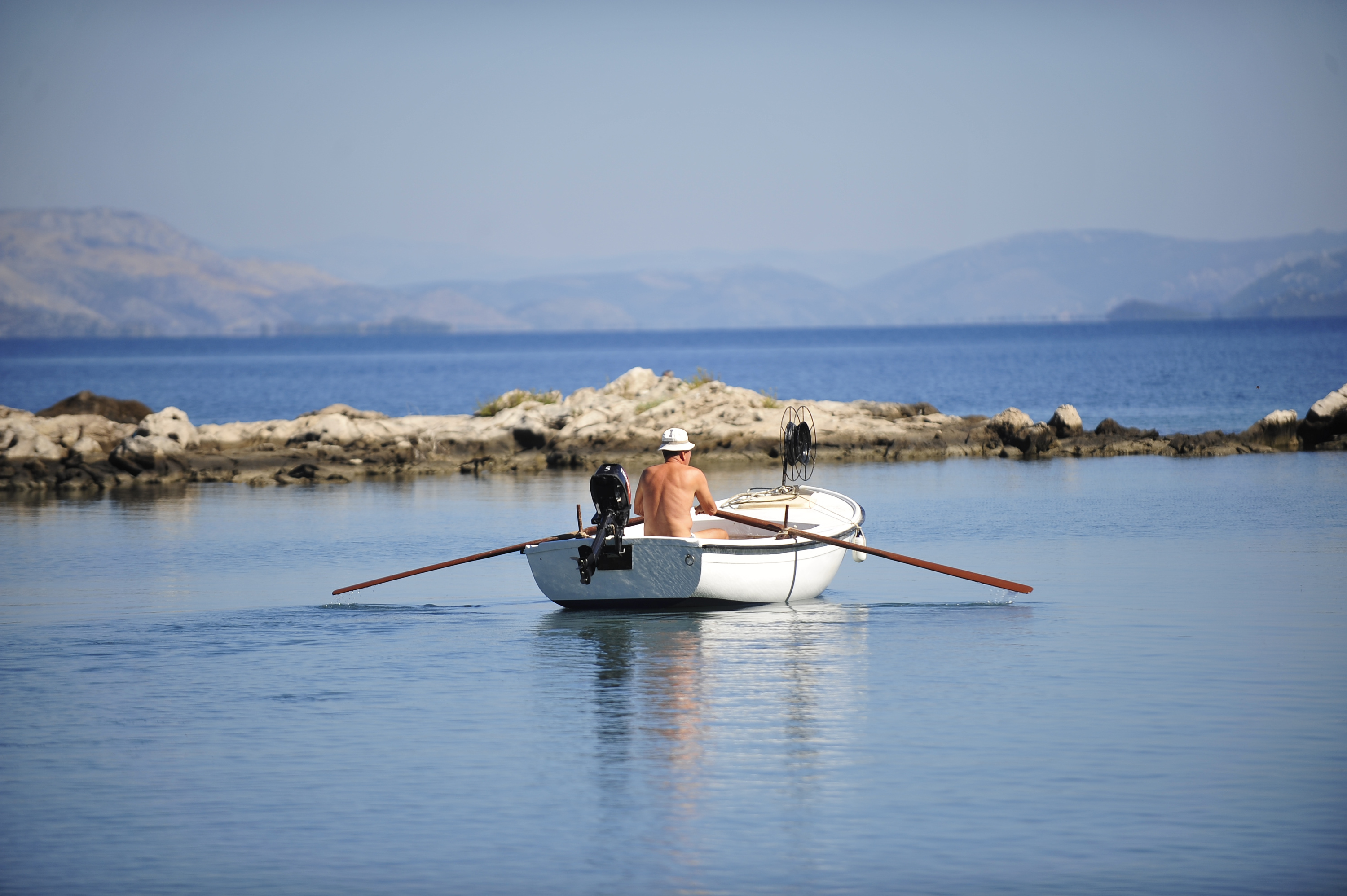 Trpanj, rowing, boat, sea, fisherman