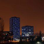 Zagreb, 30.09.2014 - Svjetleci neboderi kompleksa Strojarska promijenili su nocnu vizuru Zagreba