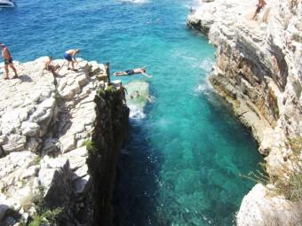 Jumping in Kamenjak Crystal Blue