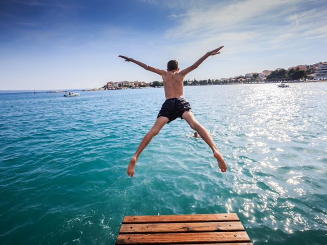 Refreshing Jump in Adriatic Sea