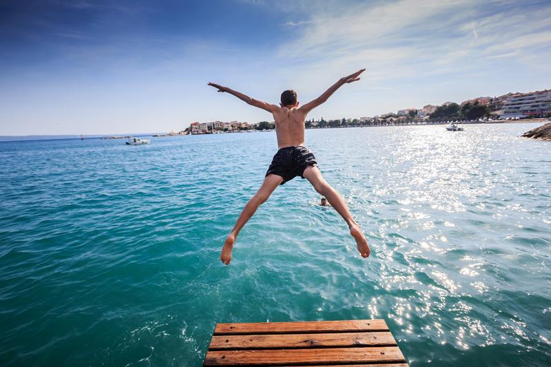 Refreshing Jump in Adriatic Sea