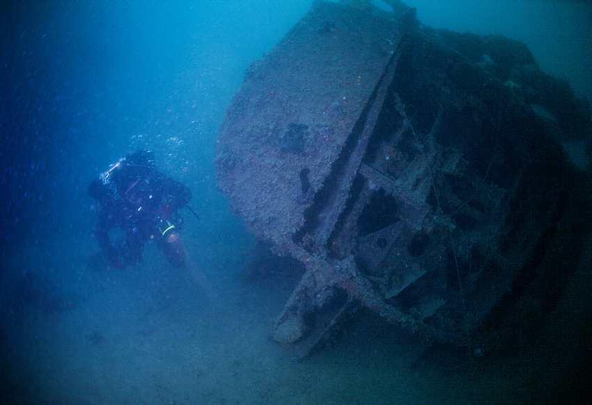 Diving Next to Warship