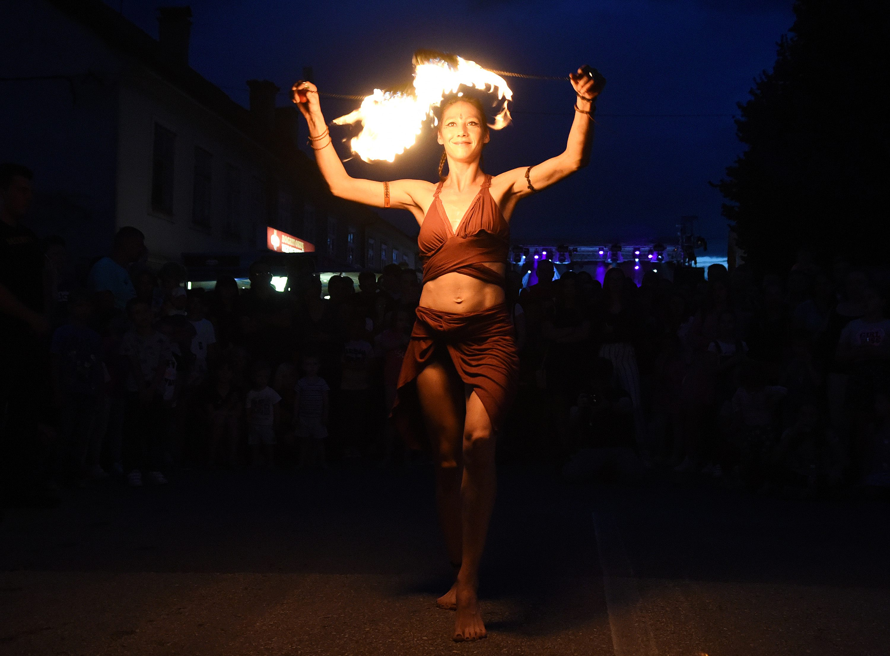 girl, dancing, fire