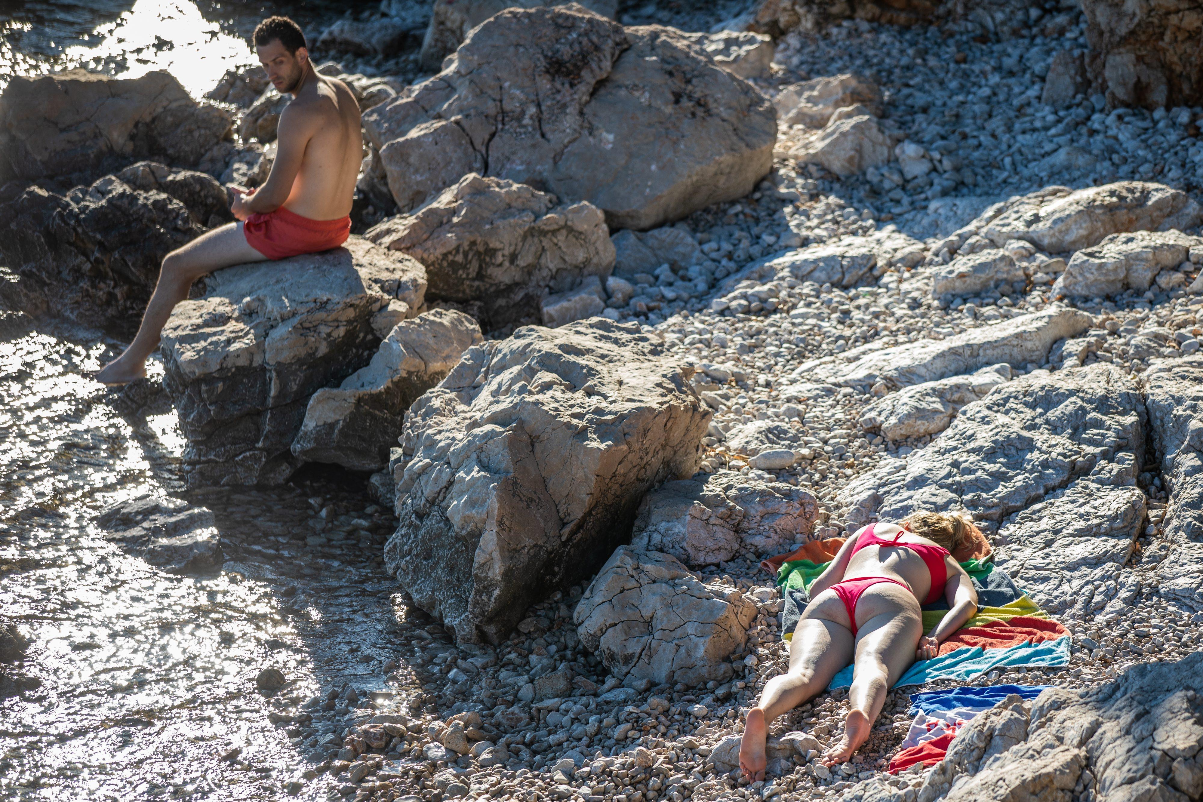 Kostrena, beach, sunbathers